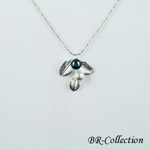 Sterling Silver Leaf Pendant with Freshwater Pearls - $26.68