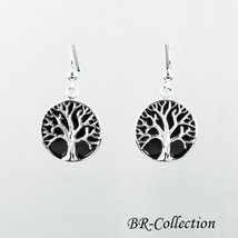 Sterling Silver Tree of Life Earrings with Onyx Inlay - Celtic Jewelry - $34.60