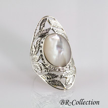 Sterling Silver Ring with a large Natural Mother of Pearl - $31.95