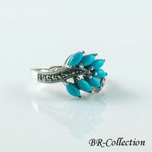 Sterling Silver Ring with Blue Turquoise & Swiss Marcasite - $31.95