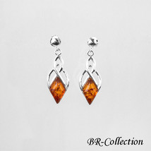 925 Sterling Silver Earrings with Diamond Shaped Baltic Amber Gemstones - $34.60