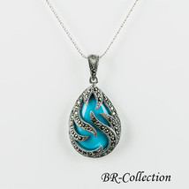 Sterling Silver Pendant with Blue Turquoise or Black Onyx with Swiss Mar... - $43.95