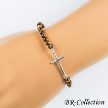 Stretch Bracelet with Sterling Silver Cross Beaded with Tigers Eye or Am... - ₨1,100.51 INR