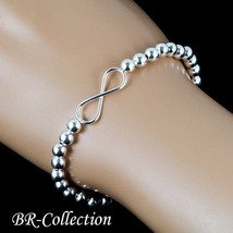 Silver Infinity Stretch Bracelet Beaded with Sterling Silver Balls - 5mm... - $38.56