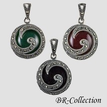 Sterling Silver Pendant with Green or Red Agate or Onyx with Swiss Marca... - $31.95