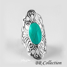 Large Sterling Silver Ring with Light Green Turquoise Stone - $21.95