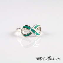 Sterling Silver Infinity Ring with Light Green Turquoise Inlay - $16.95
