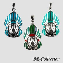 Sterling Silver Indian Chief Head Pendant with Turquoise or Malachite & Shell - $28.95