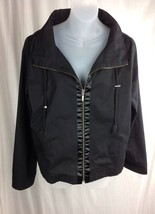 APOSTROPHE Black zip up Stretch Sweats Jacket - Womens size L large - $12.99