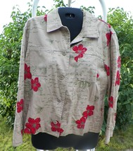 Hearts of Palm Cotton Floral  Button Front Shirt Jacket  Womens 10  M Tan - $18.99