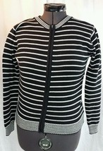 TALBOTS Full Zip Sweater Womens M 100% Cotton Black White Striped Jailho... - $24.99