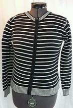 TALBOTS Full Zip Sweater Womens M 100% Cotton Black White Striped Jailhouse Rock - $24.99