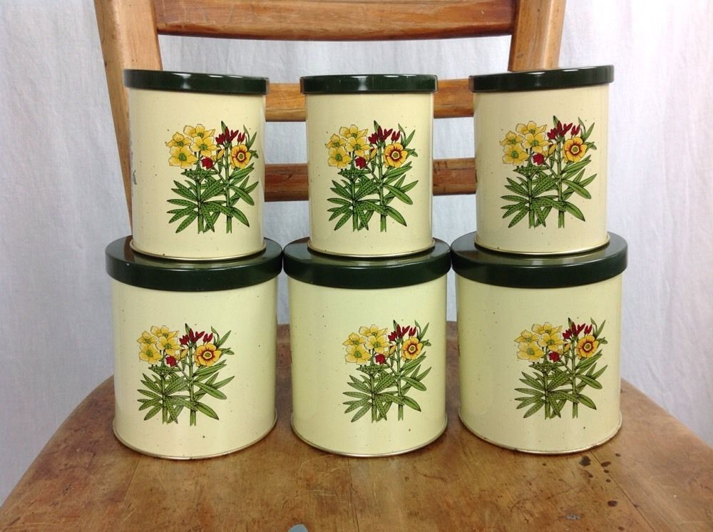 6 Tin Vintage Retro Kitchen Canisters Set And 50 Similar Items