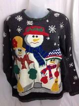 Ugly Tacky Christmas Sweater Womens PM Petite Medium Studio Snowman Family - $18.68