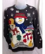 Ugly Tacky Christmas Sweater Womens PM Petite Medium Studio Snowman Family - £19.78 GBP