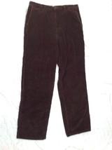 PERRY ELLIS Mens 33 X 32 Corduroy Pants  FLAT FRONT DRESS PANTS Brown 31... - $18.69