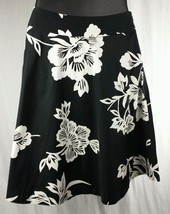 GAP Womens Sz 0 Half Circle Below Knee Length Skirt Black w White Floral... - $15.96