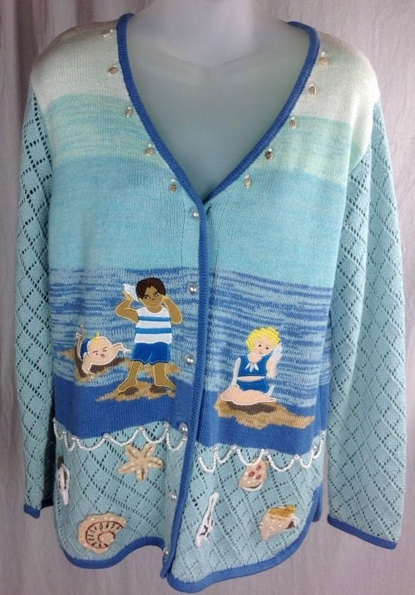 Primary image for STORYBOOK KNITS Womens Small Beach Seashells Cotton Ramie Cardigan Sweater Kids