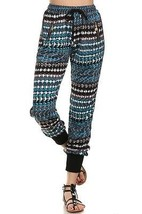 Women's Yelete Blue Square Bead Print Jogger Pants with Pockets USA SELLER - $12.95