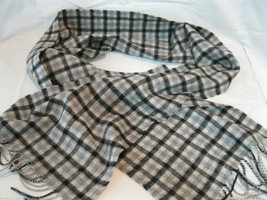Amicale Mens Gray Black Check Merino Wool Scarf - £14.72 GBP