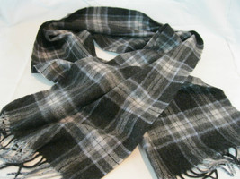 Amicale Black Gray Baby Blue Plaid Merino Wool Scarf - £14.72 GBP