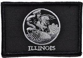 Illinois State Flag - 3x2 Hat Patch (Black) - $4.89