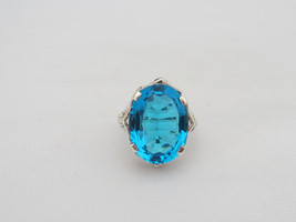 Vintage Sterling Silver Blue Topaz Filigree Ring Size 6 - $50.00