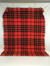 Lap Throw Stadium Blanket 56.5 x 42 Inch Small Fringe Orange Brown Plaid - ₹1,741.59 INR