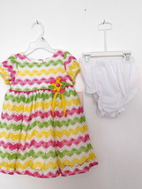 Dress Infant 2 Pc Rare Editions Pink/Yellow/Green/White Stripe 18 M Nwt - $29.99