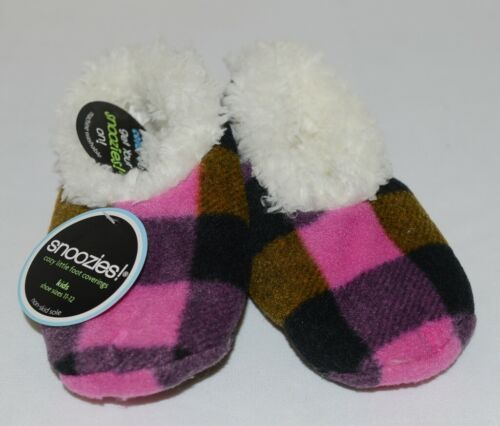 Snoozies 200192P Foot Coverings Pink Buffalo Plaid Kids 11 12