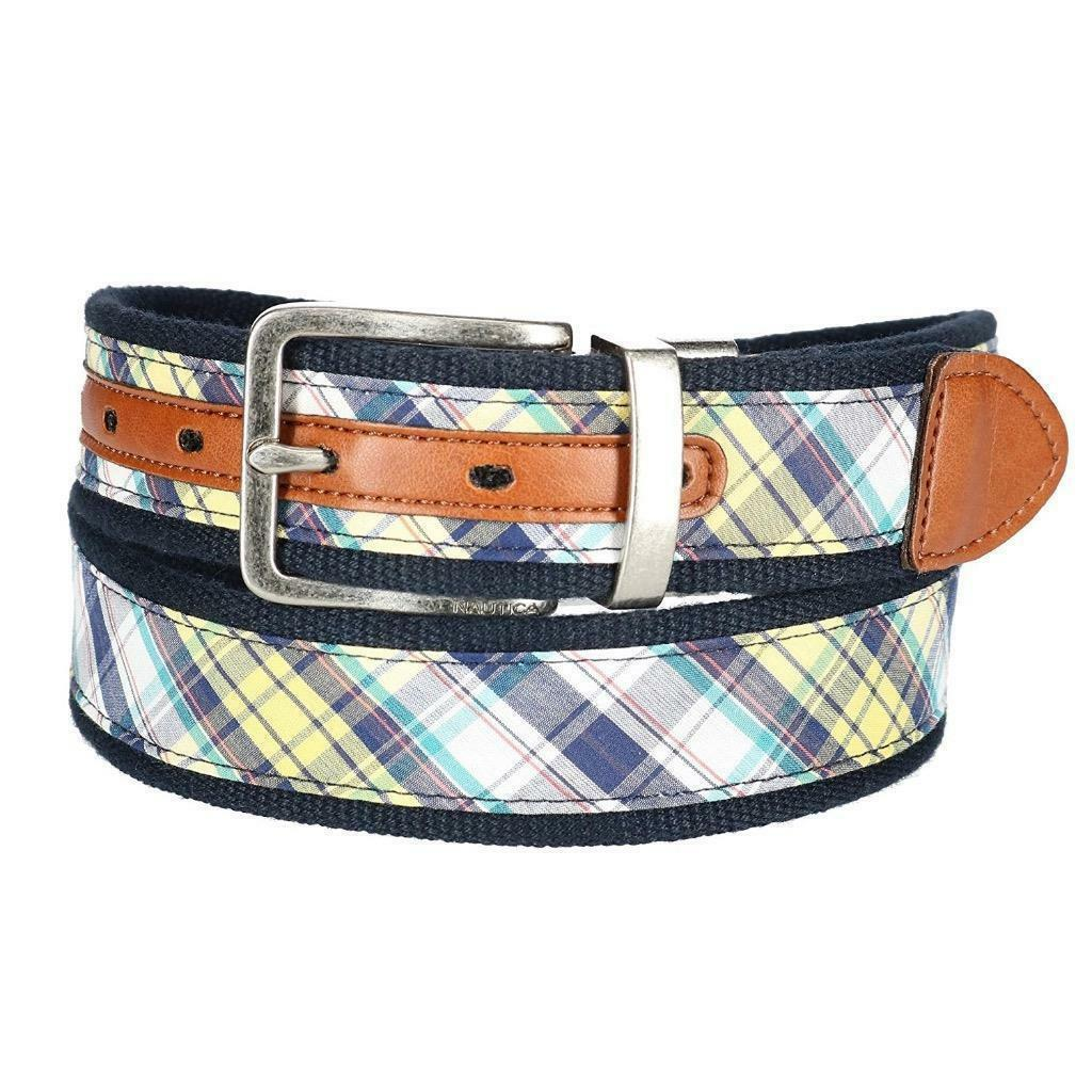 Nautica Men's Reversible Genuine Leather 35MM Madras Fabric Belt Navy 11NU03X025