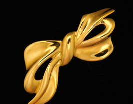 Vintage Napier Bow brooch Smooth Shiny Gold Tone Pin - $14.95