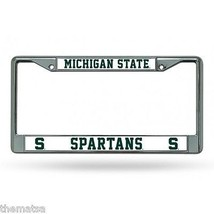 MICHIGAN STATE SPARTANS COLLEGE CHROME LICENSE PLATE FRAME MADE IN USA - $29.69