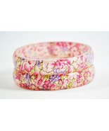 Set of 2 Resin-Fabric Abstract Bangles Bracelet - $13.00