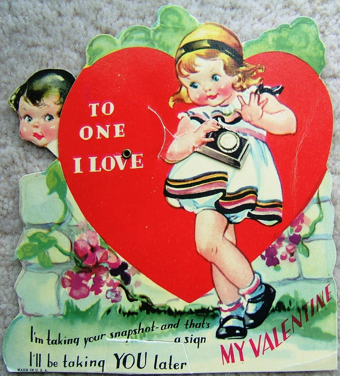 Primary image for Vintage GIRL with CAMERA and BOY Mechanical MY VALENTINE VALENTINES DAY Card 40s