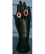 Vintage Ruby Red Paste Cocktail Rings - $125.99