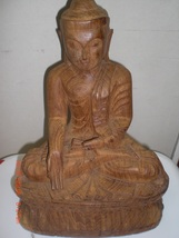 Buddha Statue: Wood, Hand carved - $26.00