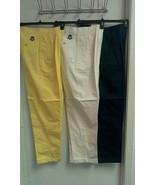 IZOD Women's Chino Golf Pants Cotton yellow white green Sizes 4-6-8-10-1... - $15.00