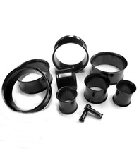 "PAIR-Titanium IP Black Double Flare Ear Tunnels 50mm/2"" Big Gauge Body Jewe - $15.00"