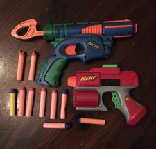 Nerf Single Shot Pistols 2003 2005 Blue/Green Red/Grey + 9 darts lot  - $14.03