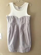 H&M Gray Cotton Shift Cream Ribbed Tank Top Casual Bubble Dress Sz 12 - $17.41