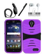 ZTE Grand X 3 Z959 Purple Hybrid Dual Layer Silicon Rugged Case w/ Kicks... - $11.99