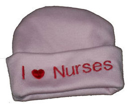 "Preemie & Newborn  ""I love Nurses"" Pink Hat with Red Embroidery - $10.00"