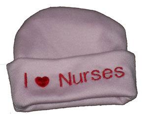 "Preemie & Newborn  ""I love Nurses"" Pink Hat with Red Embroidery"