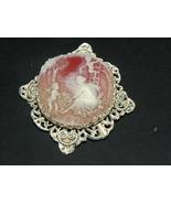 Vintage Brooch Pendant Cameo Nude Cherubs White  - $35.00