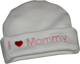 """Preemie & Baby """"I love Mommy"""" White Hat with Pink Embroidery - $10.00"""