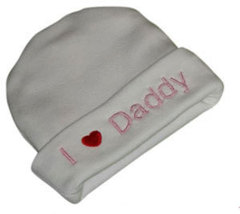 """Preemien & Newborn  """"I love Daddy"""" White Hat with Pink Embroidery - $10.00"""