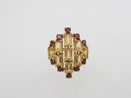 Vintage 10K Solid YG 3.21ct Genuine Garnet & Citrine Ring Size 7.25 - $325.00