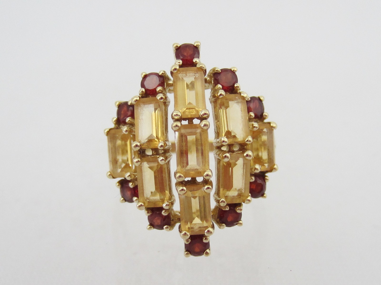 Vintage 10K Solid YG 3.21ct Genuine Garnet & Citrine Ring Size 7.25