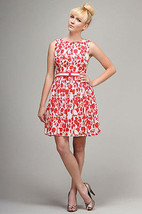 New Coral Floral Print Fit & Flare Dress Sleeveless Cocktail Wedding Dress - $8.99